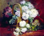 eugene henri cauchois famous paintings - still life of flowers in a basket by eugene henri cauchois