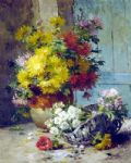 eugene henri cauchois famous paintings - still life of summer flowers by eugene henri cauchois
