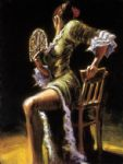 flamenco dancer ii with fan by fabian perez oil paintings