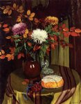felix vallotton art - chrysanthemums and autumn foliage by felix vallotton