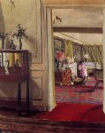 interior with woman in pink by felix vallotton acrylic paintings
