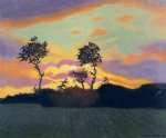 landscape at sunset by felix vallotton painting