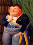 fernando botero watercolor paintings - el presidente 02 by fernando botero