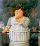fernando botero watercolor paintings - en el balcon by fernando botero