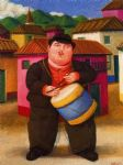 fernando botero watercolor paintings - hombre tocando el tambor by fernando botero