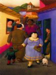 fernando botero watercolor paintings - la calle by fernando botero