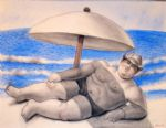 man on the beach by fernando botero painting