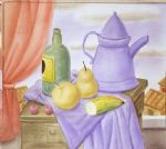 still life with green bottle by fernando botero painting