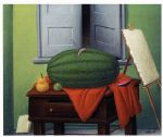 still life with watermelon by fernando botero painting