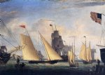 fitz hugh lane artwork - yacht northern light in boston harbor by fitz hugh lane