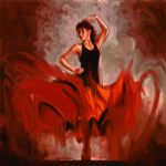 flamenco dancer watercolor paintings - crescendo i by flamenco dancer