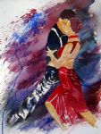 dancing tango by flamenco dancer watercolor paintings