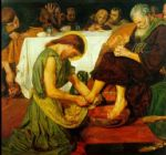 jesus watercolor paintings - jesus washing peter s feet at the last supper by ford madox brown