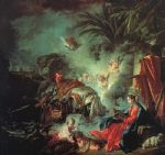 the rest on the flight into egypt by francois boucher painting