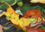 franz marc famous paintings - cows yellow red green by franz marc