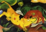 cow original paintings - cows yellow by franz marc
