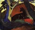 crouching deer by franz marc painting