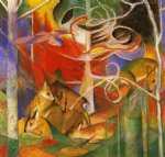 franz marc deer in the forest painting