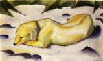 franz marc dog lying in the snow art
