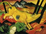cow watercolor paintings - the yellow cow by franz marc