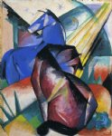franz marc two horses red and blue painting