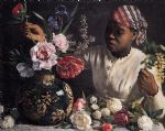 frederic bazille watercolor paintings - african woman with peonies by frederic bazille