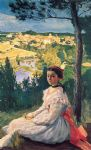 frederic bazille watercolor paintings - view of the village by frederic bazille