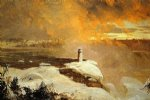 winter original paintings - niagara falls from goat island winter by frederic edwin church
