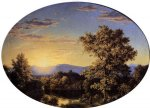 mountain original paintings - twilight among the mountains by frederic edwin church