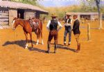 frederic remington acrylic paintings - buying polo ponies in the west by frederic remington