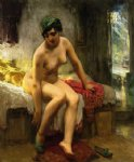 frederick arthur bridgeman after the bath painting