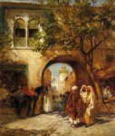 frederick arthur bridgeman famous paintings - by the city gate by frederick arthur bridgeman