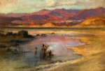 frederick arthur bridgeman crossing an oasis with the atlas mountains in the distance morocco painting 33789