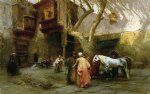 frederick arthur bridgeman famous paintings - horse market at cairo by frederick arthur bridgeman