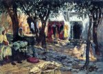 frederick arthur bridgeman idle moments an arab courtyard painting