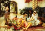 frederick arthur bridgeman famous paintings - in a village el biar algeria by frederick arthur bridgeman