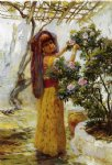 frederick arthur bridgeman in the courtyard painting