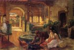 oriental watercolor paintings - orientalist interior by frederick arthur bridgeman