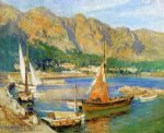 frederick arthur bridgeman sailboats south of france painting