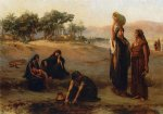 women drawing water from the nile by frederick arthur bridgeman painting