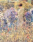 lady in a garden by frederick carl frieseke painting