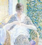 frederick carl frieseke famous paintings - on the balcony by frederick carl frieseke
