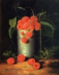 george forster famous paintings - a pail of raspberries by george forster