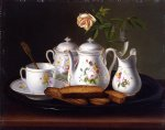 george forster famous paintings - still life of porcelain and biscuits by george forster