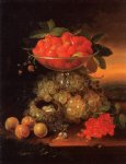 george forster famous paintings - still life with fruit ad nest of eggs by george forster