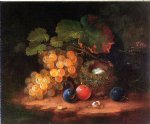 george forster famous paintings - still life with fruit bird s nest and broken egg by george forster