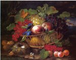george forster famous paintings - still life with fruit butterflies and bird s nest by george forster