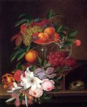 george forster famous paintings - still life with fruit flowers and bird s nest by george forster