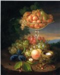george forster famous paintings - still life with fruit nest of eggs and insects by george forster