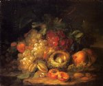 george forster famous paintings - still life with grapes and peaches by george forster